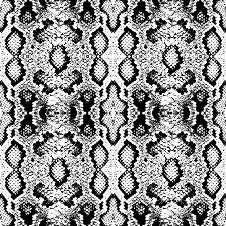 Illustration pour Snake skin scales texture. Seamless pattern black isolated on white background. simple ornament, fashion print and trend of the season Can be used for Gift wrap, fabrics, wallpapers. Vector illustration - image libre de droit