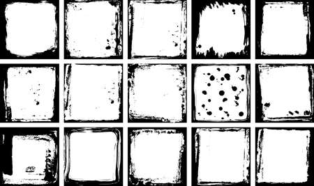 Illustration pour Abstract grunge frame collection set. Black and white Background drops, paint stains, ink template, copy space for your design, card banner template. Vector illustration - image libre de droit