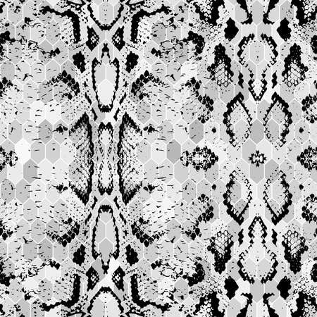 Illustration pour Snake skin scales texture. Seamless pattern black on white gray background. simple ornament, fashion print and trend of the season Can be used for Gift wrap, fabrics, wallpapers. Vector illustration - image libre de droit