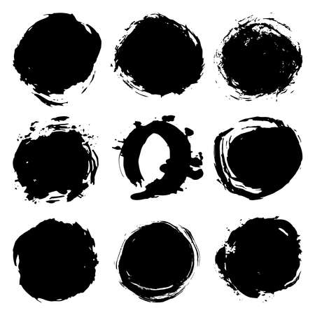 Illustration for Black brush strokes round spot, collection abstract scandinavian style isolated on white background grunge texture. Card design elements paint stain template frame for your text, copy space. Vector illustration - Royalty Free Image