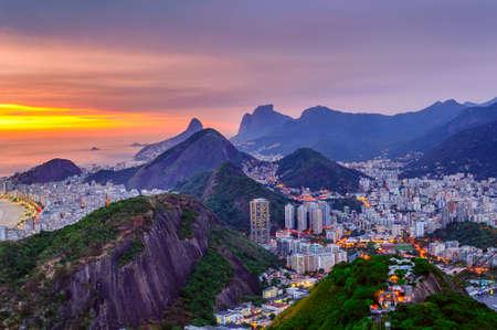 Sunset view of Copacabana and Botafogo in Rio de Janeiro. Brazil