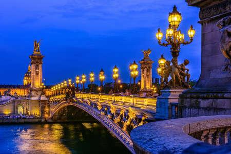 Foto de Pont Alexandre III (Alexander the third bridge) over river Seine in Paris, France - Imagen libre de derechos