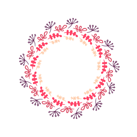 Illustration pour Herbs and plants in pink colors hand drawn wreath mandala illustration minimalism - image libre de droit