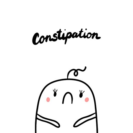 Constipation Early Symptom Of Pregnancy Hand Drawn Illustration With Cute Marshmallow Cartoon Minimalism Royalty Free Vector Graphics