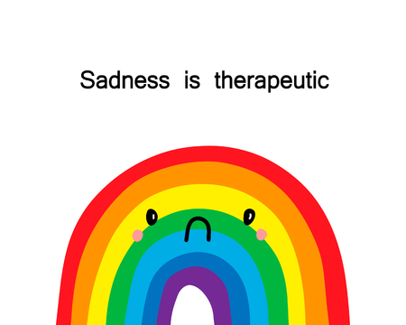 Illustration pour Sadness is therapeutic. Vector hand drawn illustration with upset rainbow. Cartoon minimalism style - image libre de droit
