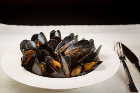 Italian cuisine. Mussels in a porcelain plate with folk and knife. Shallow DOF, horizontal, copy space