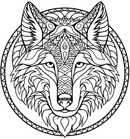 Illustration pour Doodle wolf coloring book outline drawing in vector - image libre de droit