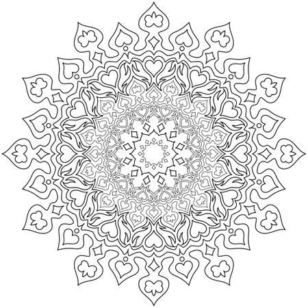 Illustration pour Circular pattern in form of mandala for Henna, Mehndi, tattoo, decoration. Decorative ornament in ethnic oriental style. Coloring book page. - image libre de droit