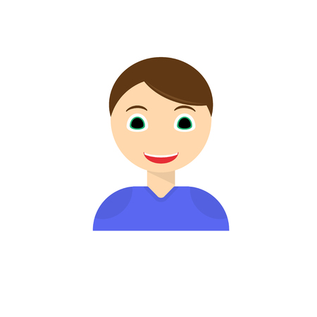 Young man smiling face icon. boy with joyful facial expression flat vector, isolated on white background. Joyful male cartoon emotional portrait to illustrate a user s avatar