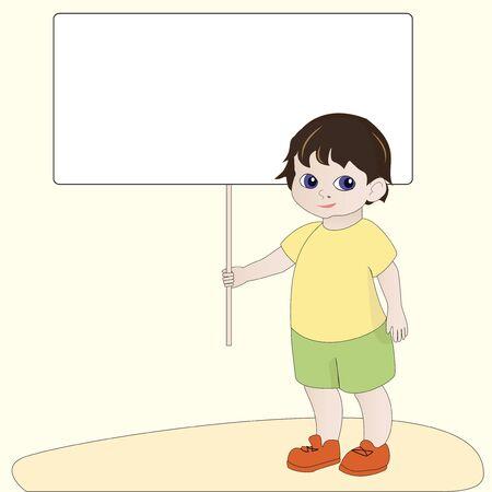 Cartoon boy holding empty blank banner sign