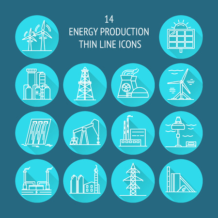 Illustration pour Collection of energy and ecology round icons in thin line style. Renewable energy sources, industrial objects in linear symbols with long shadow. - image libre de droit