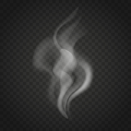 Illustration pour Transparent smoke or steam waves isolated on dark background. Trickles of smoke vector. - image libre de droit