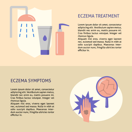 Eczema symptoms and treatment flyer templates in flat style
