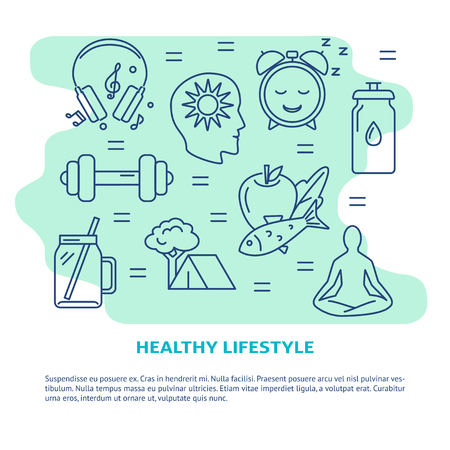 Illustration for Healthy lifestyle concept banner in line style - Royalty Free Image