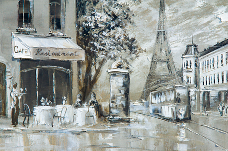 Texture, background. Painting on canvas painted with oil paints. The picture painted scenes from the life of the city of Paris