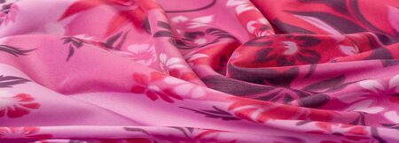 Photo pour texture, background, pattern, delicate pink silk with floral print Exceptionally lightweight pure silk fabric with a delicate texture. Clean, use lining when opacity is desired. - image libre de droit