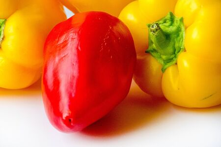 Foto für Bell peppers are sometimes grouped with less pungent pepper varieties as sweet peppers. - Lizenzfreies Bild