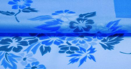 Photo pour texture, background, pattern, delicate blue silk with floral print Exceptionally lightweight pure silk fabric with a delicate texture. Clean, use lining when opacity is desired. - image libre de droit