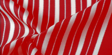 silk striped fabric. Red-white stripes. This beautiful, super soft, medium-sized silk blend is perfect for your design projects. It is brushed on the back for a luxurious feeling.