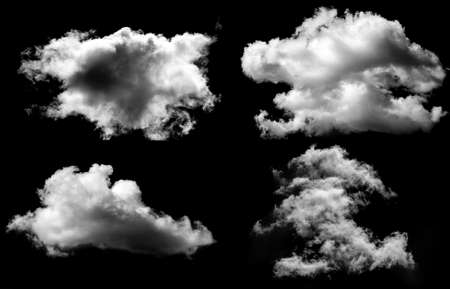 Photo pour Designer Photography. Sky and clouds isolated on black background, close up - image libre de droit