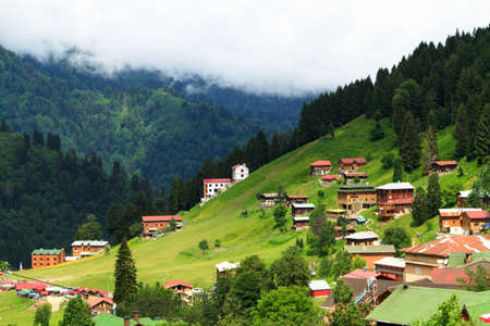 Mountain houses in Ayder Plateau, Rize, Turkey.