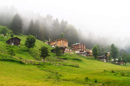 Old wooden traditional houses in Ayder Plateau, Rize, Turkey.