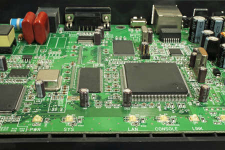 Modem disassembled, view of the electronic circuit boards.
