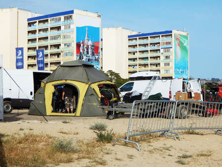 Aktau - May 25 2019 year. FIA WORLD CUP RALLY 2019 KAZAKHSTAN. Cars in the parking lot.