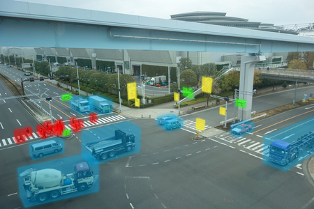 iot smart automotive Driverless car with artificial intelligence combine with deep learning technology. self driving car can situational awareness around the car, letting it navigate itself 360 degree