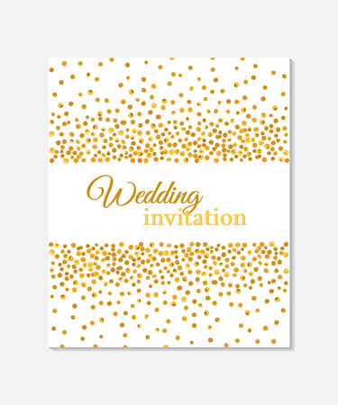 Wedding Invitation Card With Falling Golden Dots On White