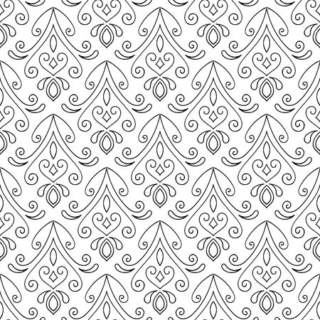 Abstract seamless hand drawn pattern on white background. Design element for background, textile, paper packaging, wrapping paper and other. Vector illustration.
