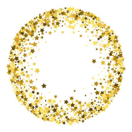 Illustration for Round gold frame or border of random scatter golden stars on white background. Design element for festive banner, birthday and greeting card, postcard, wedding invitation. Vector illustration. - Royalty Free Image