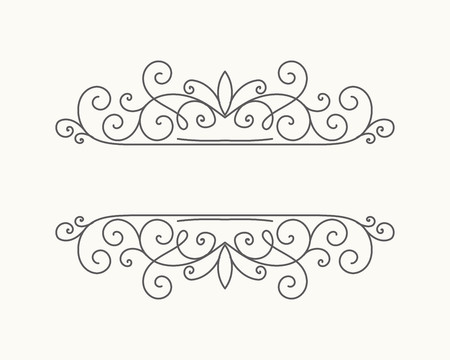 Illustration for Hand drawn decorative border in retro style with editable stroke. Vintage calligraphic vignette or divider for greeting card, banner, party, wedding invitation, menu, postcard. Vector illustration. - Royalty Free Image