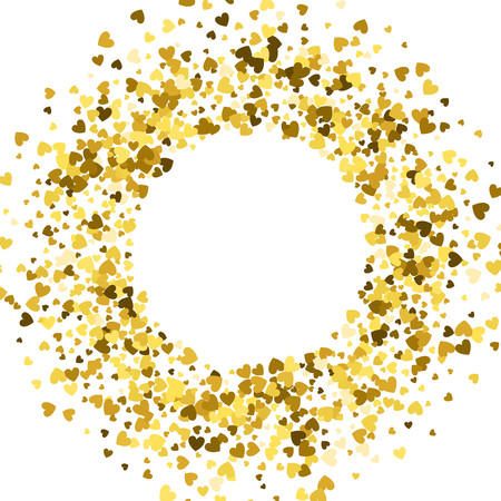 Illustration for Round gold frame or border of random scatter hearts. Design element for festive banner, greeting card, postcard, wedding invitation, Valentines day and save the date card. Vector illustration. - Royalty Free Image
