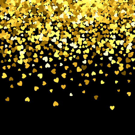 Illustration pour Gold pattern of random falling hearts shape confetti. Border design element for festive banner, greeting card, postcard, wedding invitation, Valentines day and save the date card. Vector illustration. - image libre de droit