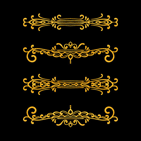 Illustration pour Set of vintage dividers on black background. Gold texture hand drawn retro border. Design element for wedding invitation or menu, banner, postcard, save the date card. Vector illustration. - image libre de droit