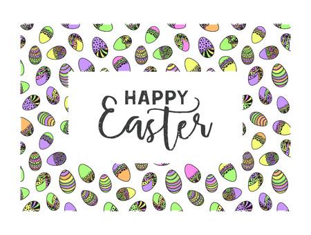 Illustration for Easter doodle vector frame - Royalty Free Image