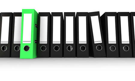 black office folders with one green folder