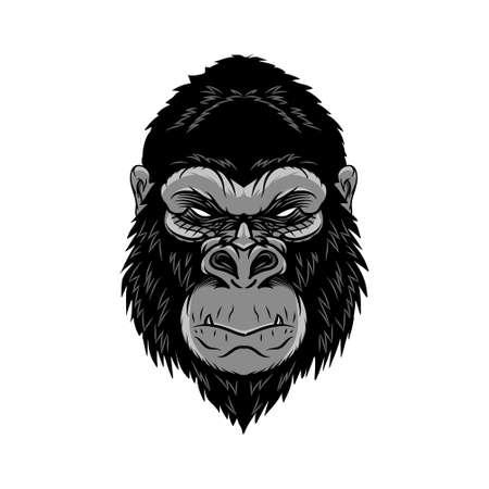Illustration pour Animal head gorilla, ape, monkey. wild logo vector illustration. editable vector - image libre de droit
