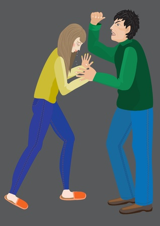 cartoon vector illustration of family violence, her husband beats his wife