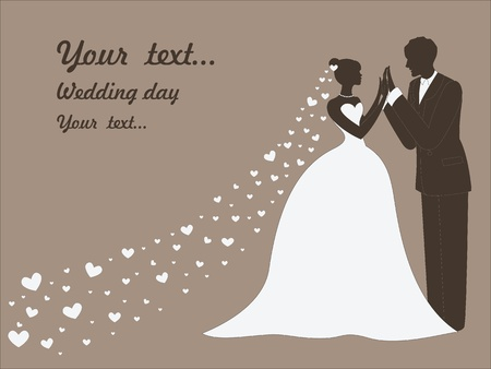 art sketching beautiful young bride in white and groom  vintage background with space for text
