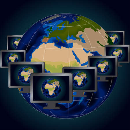 Illustration of several computer monitors over background of globe
