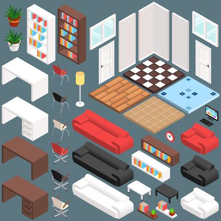 Isometric Office Planning. 3D Vector Creation Kit. Vector illustration in eps10
