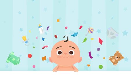 Foto de Flat little happy boy with toys. - Imagen libre de derechos
