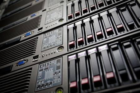 Photo pour Servers stack with hard drives in a datacenter - image libre de droit
