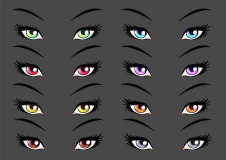 Set of anime, manga style eyes