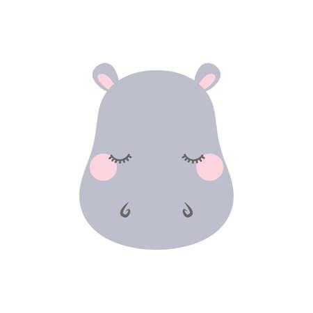 Ilustración de Cute sleepy hippo. Cartoon vector illustration in flat style - Imagen libre de derechos