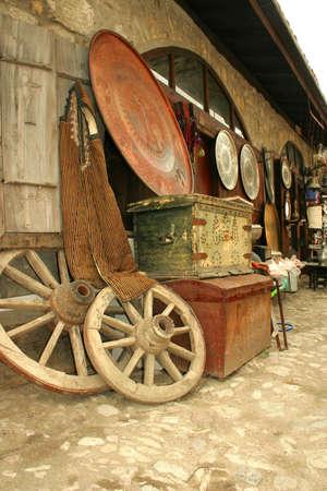 Antique bazaar at street in