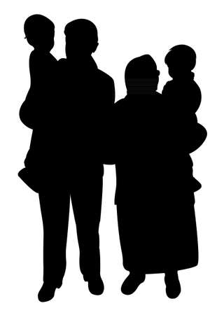 grand parents and grand sons together, happy family silhouette vector