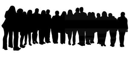Illustration pour silhouettes of people, standing in line - image libre de droit